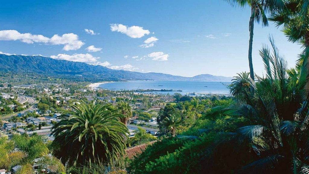 A view of Santa Barbara (coastline from a hilltop)
